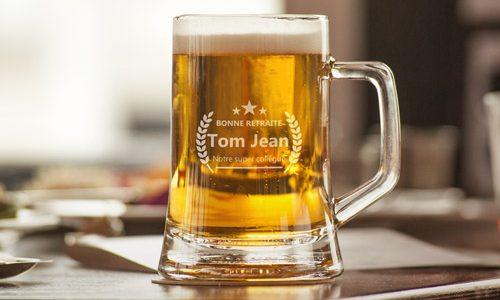 verre de bière personnalisé pour un départ en retraite